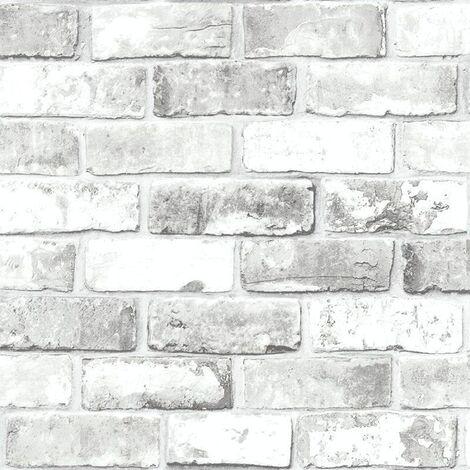 Debona Impressions White Brick effect Wallpaper Stone Wall Rustic Weathered
