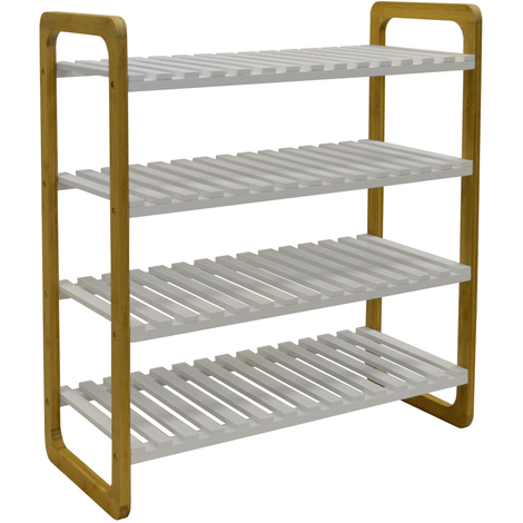 SLATS - Bamboo 4 Shelf 16 Pair Shoe Storage Rack - White / Natural