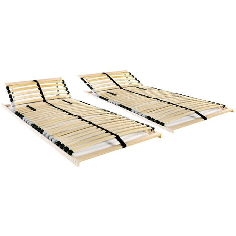 Slatted Bed Bases 2 pcs with 28 Slats 7 Zones 70x200 cm