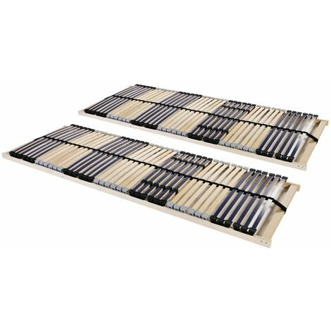 Slatted Bed Bases 2 pcs with 42 Slats 7 Zones 70x200 cm