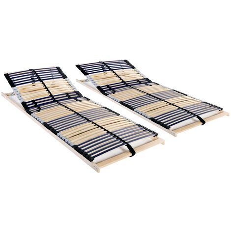 Slatted Bed Bases 2 pcs with 42 Slats 7 Zones 90x200 cm