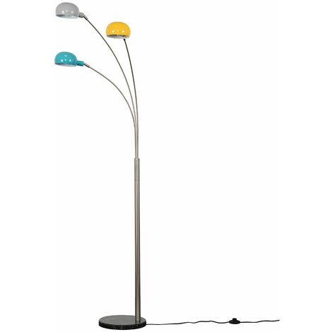 Sleek 186cm Floor Lamp Light 3 Way Marble Base Arc - Brushed Chrome