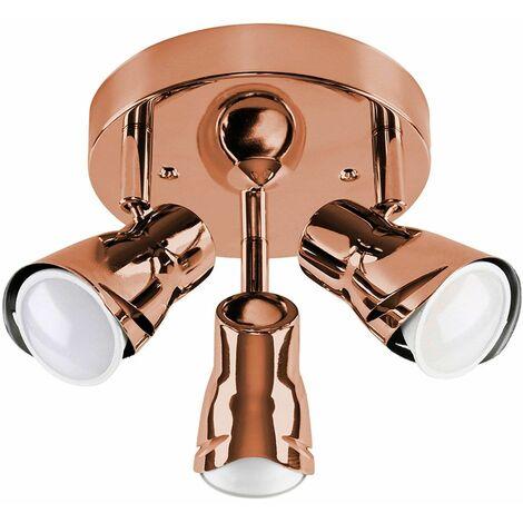 Sleek Adjustable 3 Way Ceiling Spotlight + Cool White LED GU10 Bulbs - Black - Black