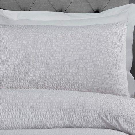 Sleepdown Seersucker Parure de lit de avec Housse de Couette et taies d\'oreiller Blanc à Rayures