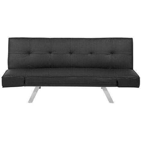 "main image of ""Sleeper Sofa 3 Seater Adjustable Armrests Faux Leather Fabric Black Bristol"""