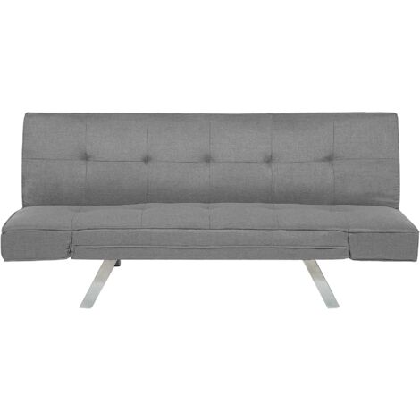 "main image of ""Sleeper Sofa 3 Seater Adjustable Armrests Upholstered Fabric Light Grey Bristol"""