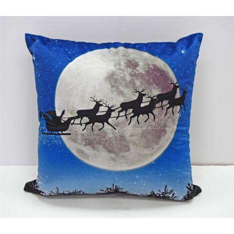 Sleigh Christmas Cushion Cover Square Scatter Cushion Cover Blue Santa