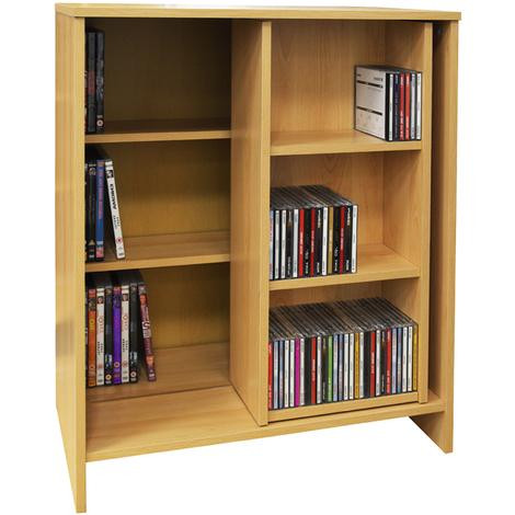 SLIDE - CD DVD Media Storage Bookcase / Display Sliding Shelves - Oak