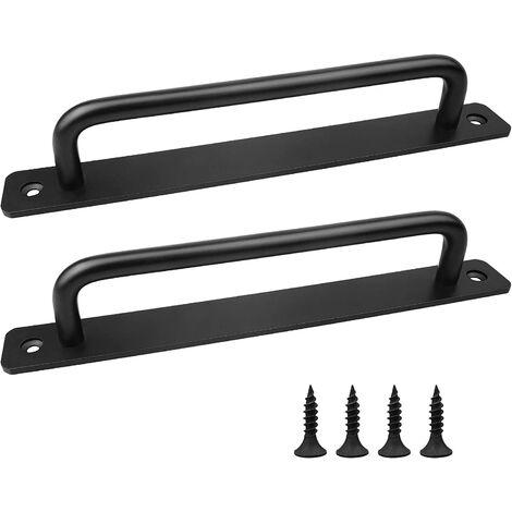 Sliding barn door handle, packet of 2 sliding door handles, black door handles for kitchen cabinet door, outdoor interior door handles with screws