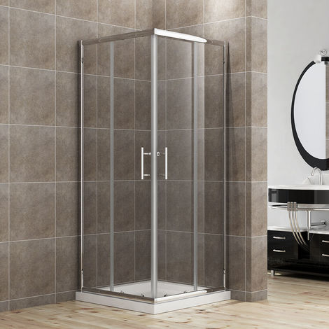 Sliding Corner Entry 900 x 900 mm Shower Enclosure Door Cubicle with Stone Tray and Riser Kit