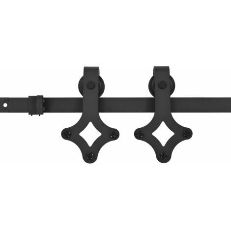 Sliding Door Hardware Kit 183 cm Steel Black