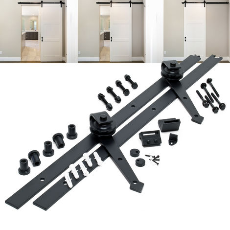 Sliding Door System Set with 183 cm Sliding Rail for Doors up to max. 90kg