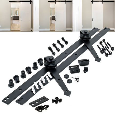 Sliding Door System Set with 244 cm Sliding Rail for Doors up to max. 150kg