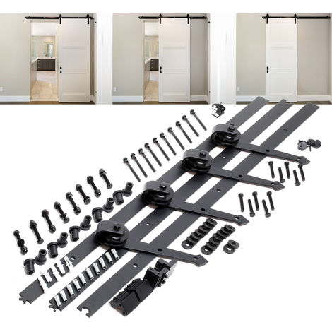 Sliding Door System Set with 366 cm Sliding Rail for 2 Doors up to max. 150kg