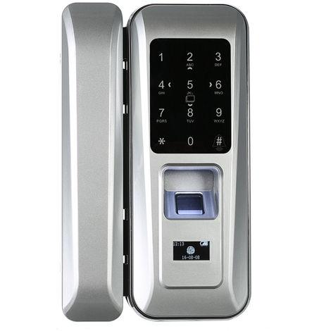 Sliding glass door smart lock (fingerprint / password / swipe) silver