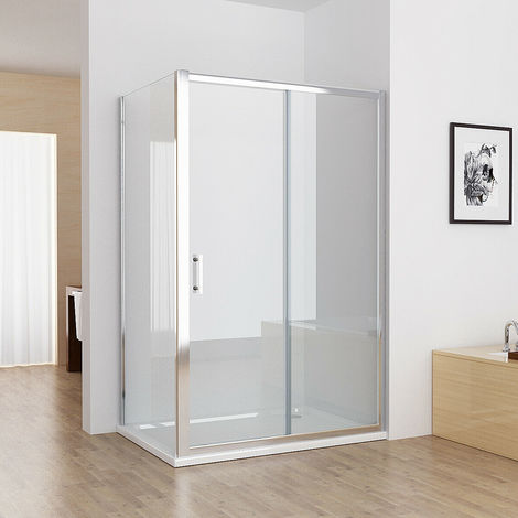 1000 x 700 mm Sliding Shower Enclosure Cubicle Door with 700 mm Side Panel Corner Entry Easy Clean Nano Glass Screen - No Tray