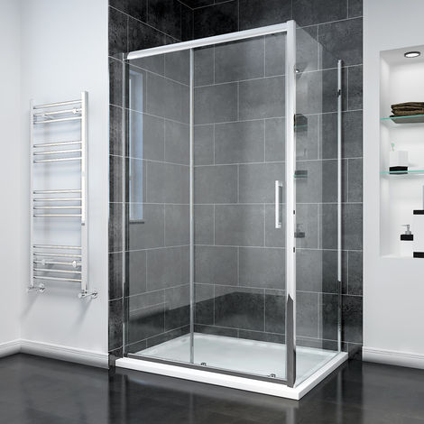 "main image of ""Sliding Shower Door Modern Bathroom 8mm Easy Clean Glass Shower Enclosure Cubicle"""