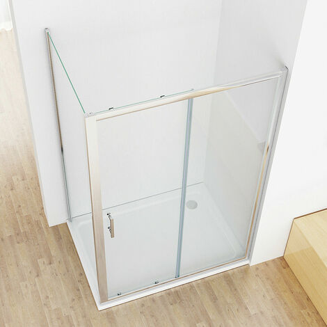 Sliding shower Door Shower Enclosure Cubicle with Side Panel 6 mm Easy Clean Nano Glass