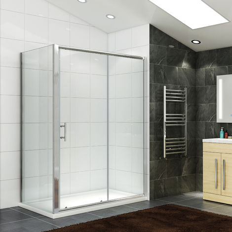 Sliding Shower Enclosure 1200 x 700 mm Glass Reversible Cubicle Door with Tray and Waste + Side Panel
