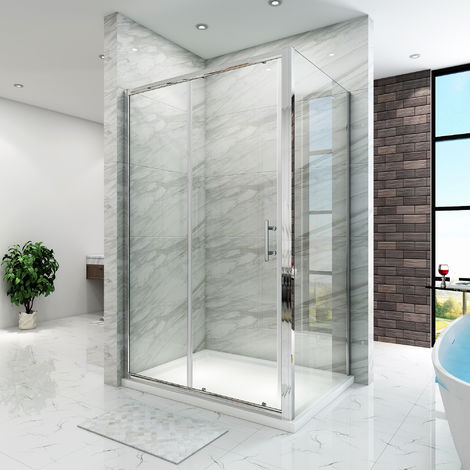 Sliding Shower Enclosure 6mm Glass Reversible Cubicle Door Screen Panel with Shower Tray and Waste + Side Panel, 1000 x 800 mm