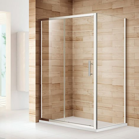 Sliding Shower Enclosure 6mm Glass Reversible Cubicle Door with Tray and Waste + Side Panel 1200 x 700 mm