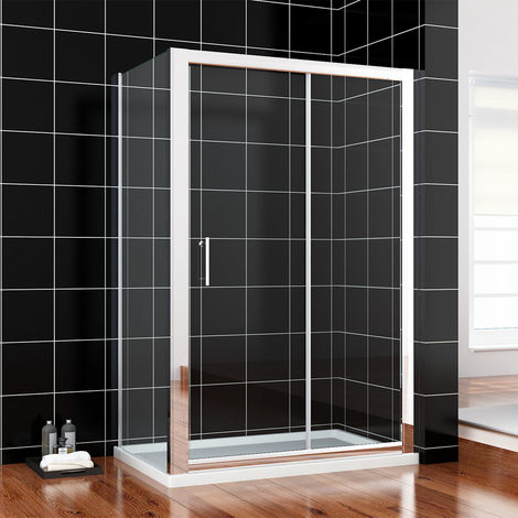 Sliding Shower Enclosure 6mm Glass Shower Cubicle with 1100x700mm Stone Tray and Waste + Side Panel + Riser Kit