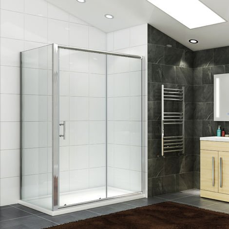 Sliding Shower Enclosure 6mm Safety Glass Reversible 1400 x 700 mm Bathroom Cubicle Screen Door with Side Panel
