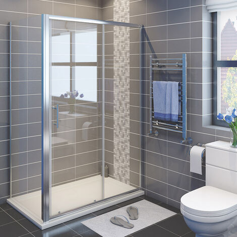 Sliding Shower Enclosure 6mm Safety Glass Reversible Bathroom Cubicle Screen Door with Side Panel