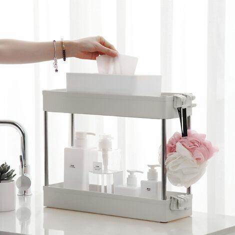 Slim 2 Tier Slide Out Kitchen Bathroom Storage Trolley Cart Rack Holder Home