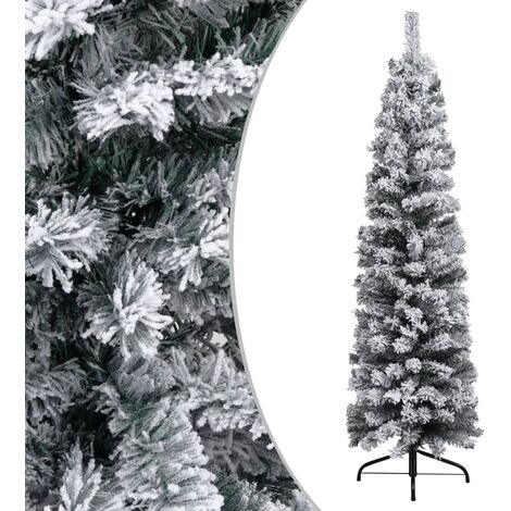 Slim Artificial Christmas Tree with Flocked Snow Green 150 cm PVC