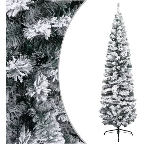 Slim Artificial Christmas Tree with Flocked Snow Green 210 cm PVC
