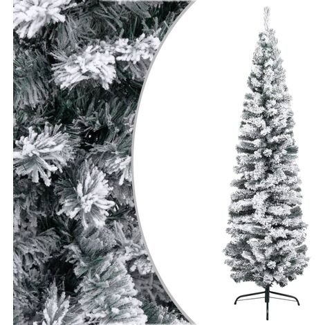 Slim Artificial Christmas Tree with Flocked Snow Green 240 cm PVC