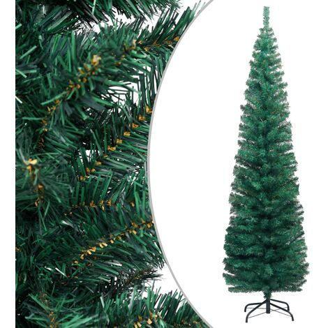 Slim Artificial Christmas Tree with Stand Green 240 cm PVC