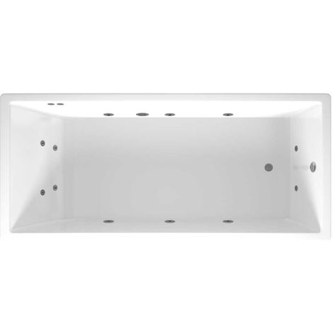 Slim Edge End Tap 12 Jet Chrome Flat Jet Whirlpool Bath 1800x800mm