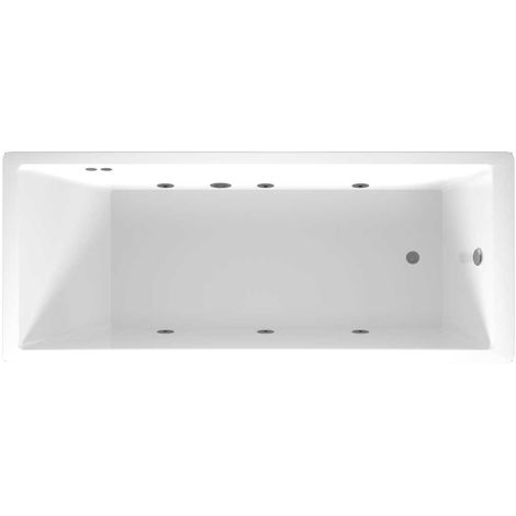 Slim Edge End Tap 6 Jet Chrome Flat Jet Whirlpool Bath 1700x700mm