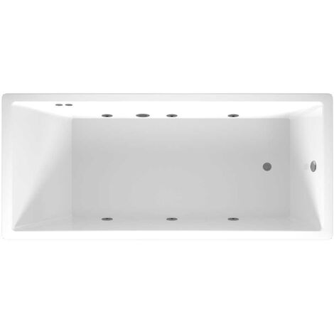 Slim Edge End Tap 6 Jet Chrome Flat Jet Whirlpool Bath 1700x750mm