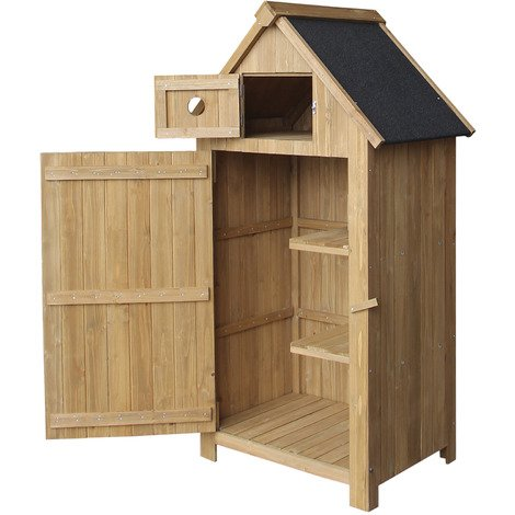 Slim Garden Cabinet made of Fir Wood with Bitumen Roof for Storage, 770x540x1420mm