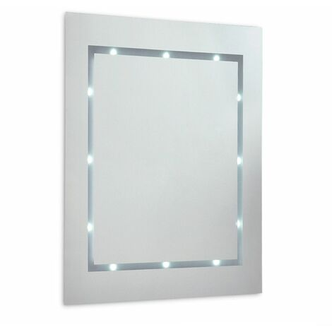 Slim LED Battery Operated Illuminating Rectangular Bathroom Mirror - Ip44 - Silver