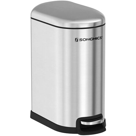 Slim Pedal Trash Can, 10L Stainless Steel Rubbish Bin with Inner Bucket, Slow Close, LTB10NL