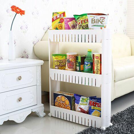 Slim Slide Out Trolley Storage Holder Rack Organizer Kitchen Bathroom (White, 4 levels)
