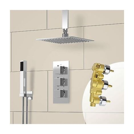Slim Square Ceiling Head Concealed Thermostatic Shower Mixer Valve Chrome