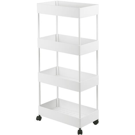 Slim Storage Cart 4-Tier Rolling Utility Storage Cart, Mobile Shelving Unit Rolling Bathroom Carts, Slide Out Storage Cart Storage Shelf Rack for Kitchen Office Bathroom Laundry Room Narrow Places, White