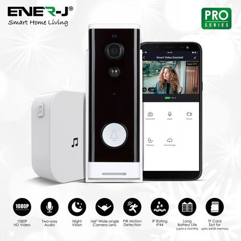 Slim Wireless Video Door Bell 1080P with Wireless Chime