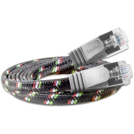 Slim Wirewin RJ45 Câble réseau, câble patch CAT 6 U/FTP 5.00 m gris plat D953331