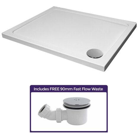 Slimline 1100 x 760 Rectangle Bathroom White Shower Tray Stone Resin and Waste