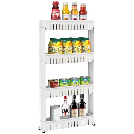 Slimline 4 Tier Shelf Storage Cart