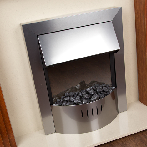 Slimline Pebble Bedded Freestanding Electric Fire - 2KW - Stainless Steel