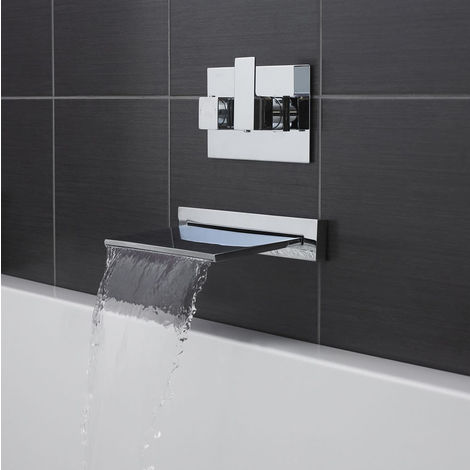 Slimline Wall Mounted Thermostatic Waterfall Bath Filler Tap Valve