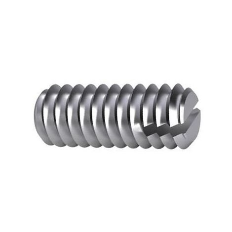 Slotted set screw with flat point DIN 551 Steel Plain 14H