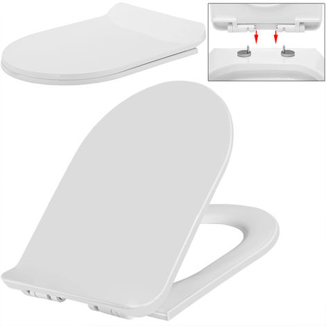 Slow Close Toilet Seat WC Bath Restroom White Heavy Duty Easy Cleaning New